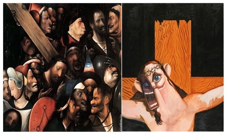 """Искусство насмешки: И. Босх, """"Несение креста"""", 1516г. ; Д. Кондо, """"Иисус"""""""
