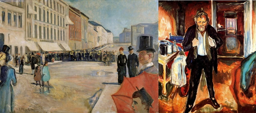 """Эдвард Мунк, """"Военный оркестр на улице Карла Юхна"""", """"Автопортрет в смятении"""""""