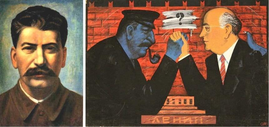 «Портрет Иосифа Сталина», Павел Филонов (1936);  Михаил Рождествин (1991).