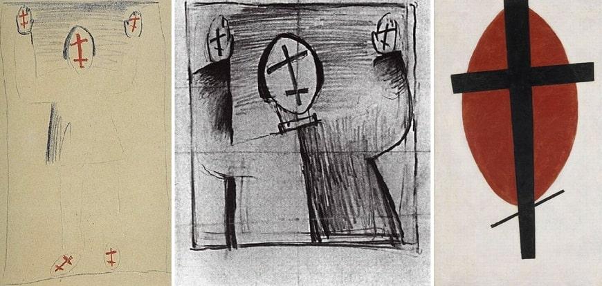 «Стоящая фигура» (1920), «Мистик» (1930), «Мистический супрематизм» (1920-1922), или «Черный крест на красном овале»